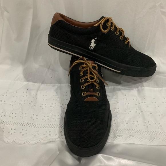 Mens Polo Black Mesh Tennis Shoe